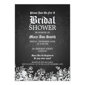 elegant bridal shower victorian flourish black invitation