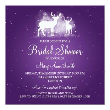 elegant bridal shower winter deer sparkle purple invitation