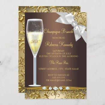 elegant brown gold white champagne brunch invite