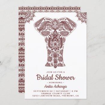 elegant brown henna elephant bridal shower invite