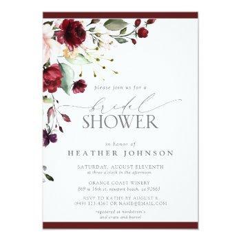 Elegant Burgundy Floral Watercolor Bridal Shower Invitation Front View