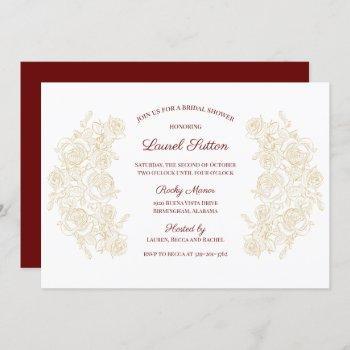 elegant burgundy & golden roses bridal shower invitation