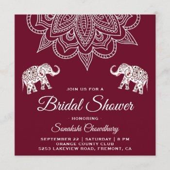 elegant burgundy mandala indian bridal shower invitation