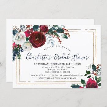elegant burgundy winter roses floral bridal shower invitation