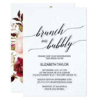 elegant calligraphy | floral back brunch & bubbly invitation