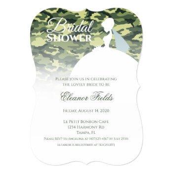 elegant camo print with white dress bridal shower invitation