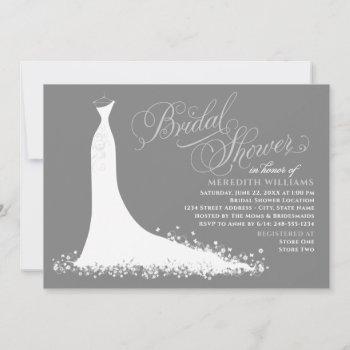 elegant charcoal gray wedding gown bridal shower invitation