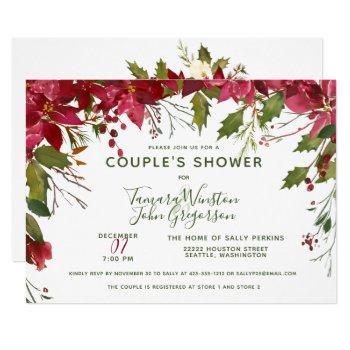 elegant custom floral christmas couples shower invitation