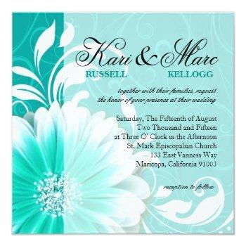elegant daisy scroll flourish | turquoise invitation