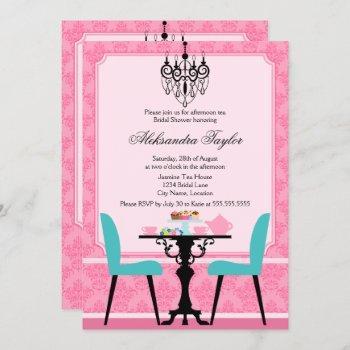elegant damask and chandelier pink aqua tea party invitation