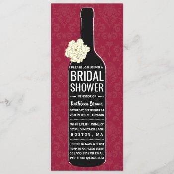 elegant damask | red wine bridal shower invitation