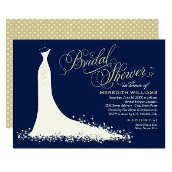 elegant dark navy gold wedding gown bridal shower invitation
