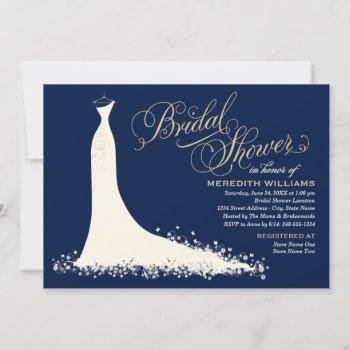 elegant dark navy gold wedding gown bridal shower invitation