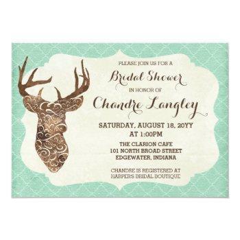 elegant deer antlers rustic country bridal shower invitation