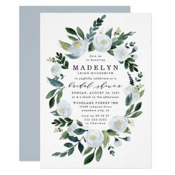 elegant dusty blue floral garden bridal shower invitation