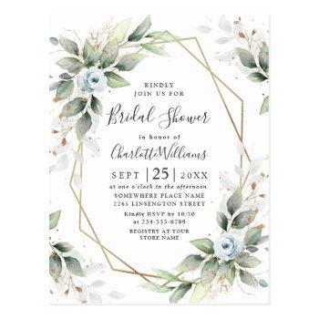 elegant dusty blue foliage bridal shower card