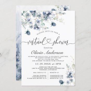 elegant dusty blue foliage virtual bridal shower invitation