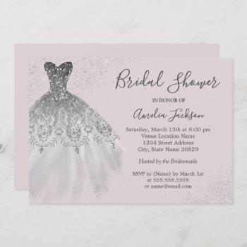 elegant dusty pink wedding gown bridal shower invitation