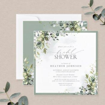 elegant eucalyptus green botanical bridal shower invitation