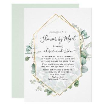elegant eucalyptus greenery bridal shower by mail invitation