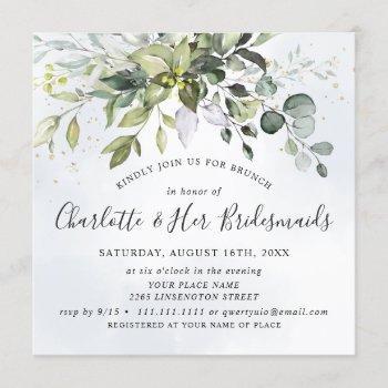 elegant eucalyptus greenery foliage bridal brunch invitation