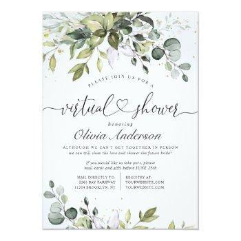 Small Elegant Eucalyptus Greenery Virtual Bridal Shower Invitation Front View