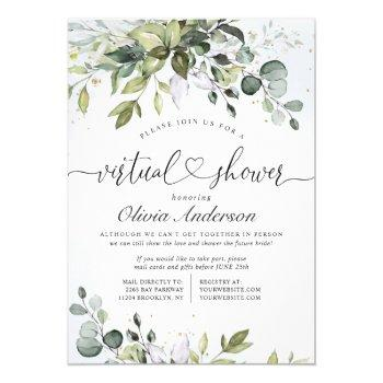 elegant eucalyptus greenery virtual bridal shower invitation
