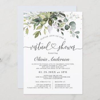 elegant eucalyptus greenery virtual bridal shower invitation