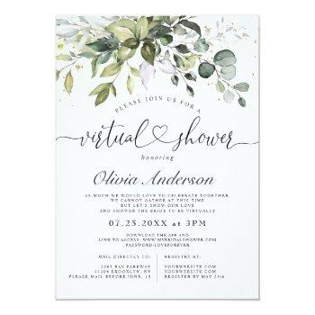 Elegant Eucalyptus Greenery Virtual Bridal Shower Invitation Front View