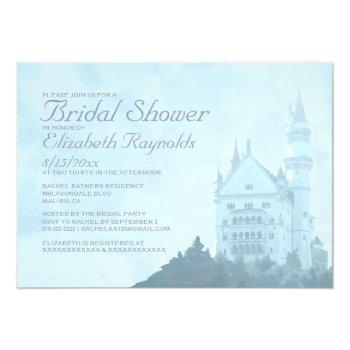 elegant fairytale castle bridal shower invitations