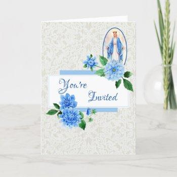 elegant floral blessed mother mary invitation