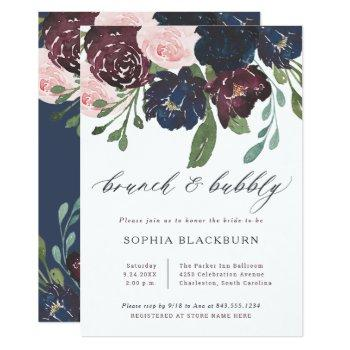 elegant floral navy and plum | brunch and bubbly invitation