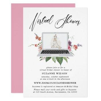 elegant floral virtual bridal shower invitation