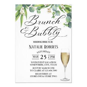 elegant foliage brunch & bubbly bridal shower invitation