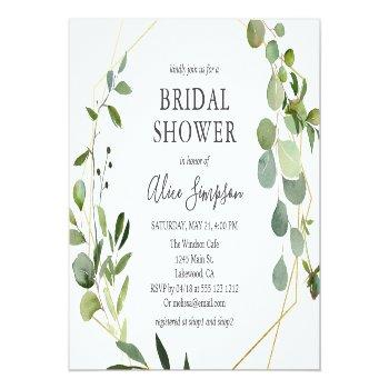 Elegant Geometric Greenery Bridal Shower Invitation Postcard Front View