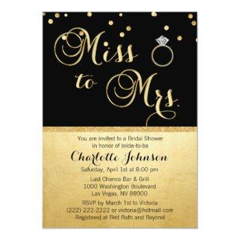 elegant gold black miss to mrs. bridal shower invitation