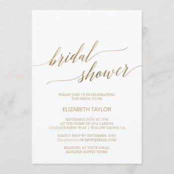 elegant gold calligraphy bridal shower invitation