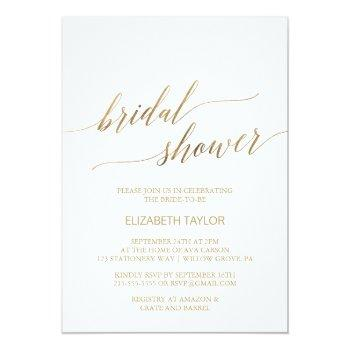 elegant gold calligraphy bridal shower invitation