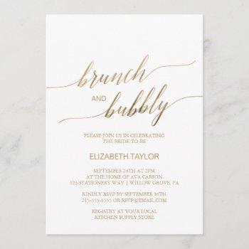 elegant gold calligraphy brunch & bubbly invitation