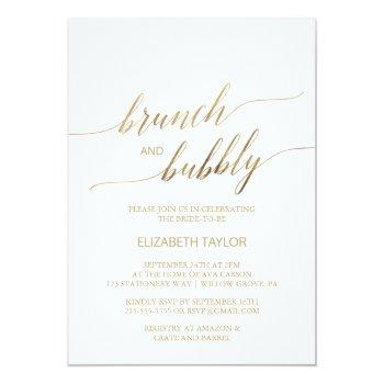 elegant gold calligraphy brunch & bubbly invitation