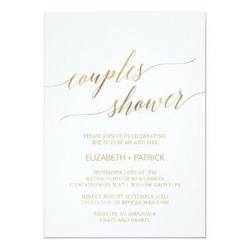 elegant gold calligraphy couples shower invitation