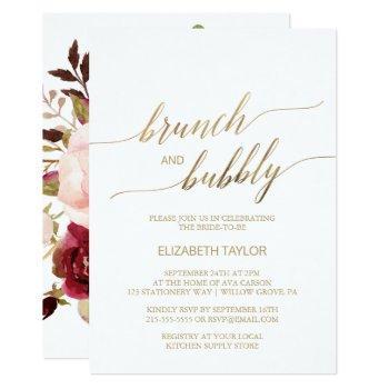 elegant gold calligraphy   floral brunch & bubbly invitation