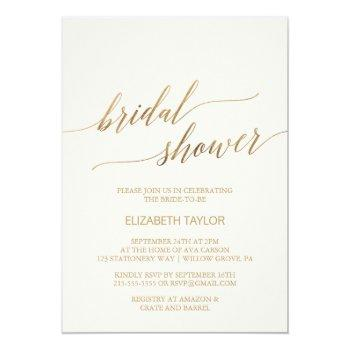 elegant gold calligraphy | ivory bridal shower invitation
