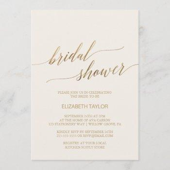 elegant gold calligraphy   ivory bridal shower invitation