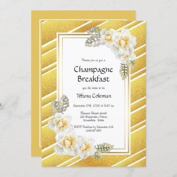 elegant gold floral bridal champagne breakfast invitation