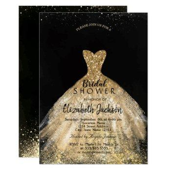 elegant gold glitter dress, bridal shower invitation