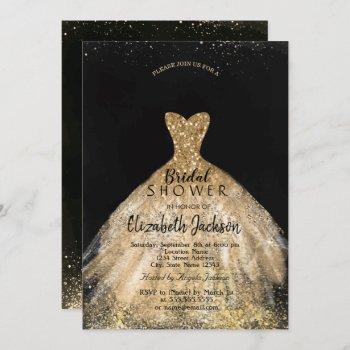 elegant gold glitter dress, bridal shower invitation