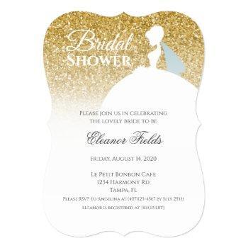 elegant gold glitter glam bridal shower invitation