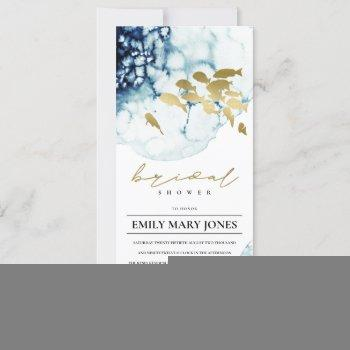 elegant gold navy underwater fish bridal shower invitation