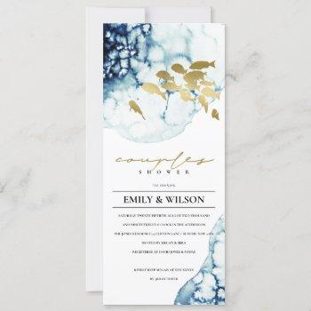 elegant gold navy underwater  fish couples shower invitation